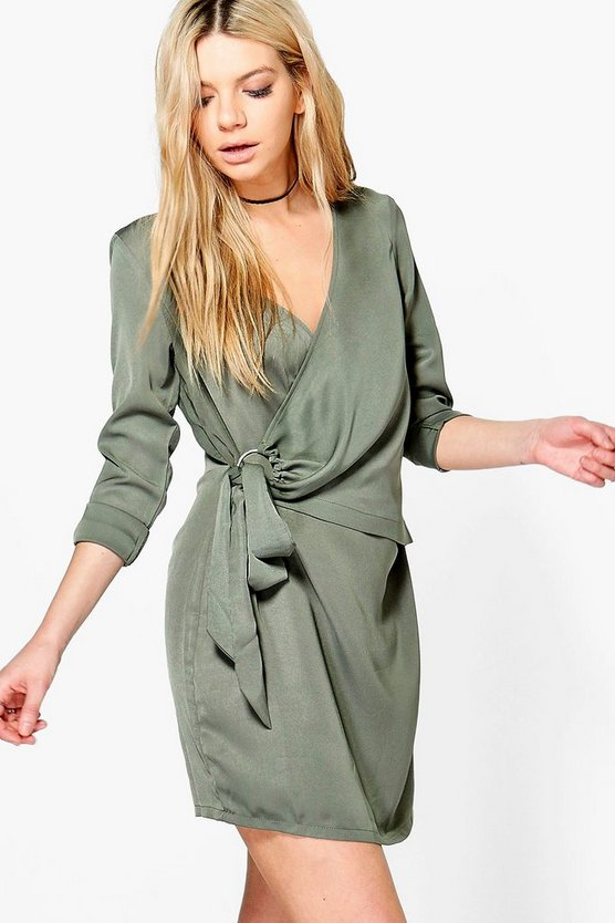 O-Ring Wrap Front Shirt Dress