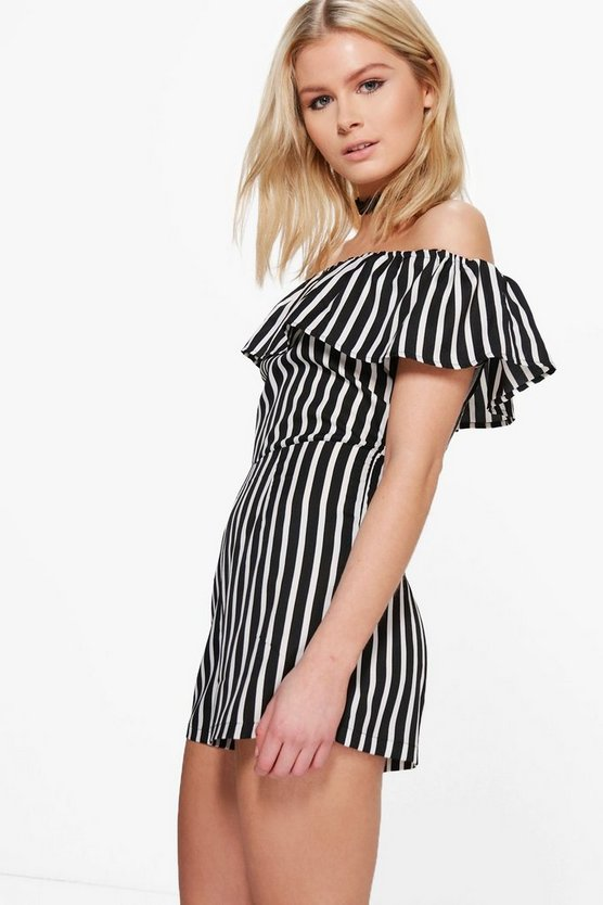 Ria Striped Off The Shoulder Playsuit