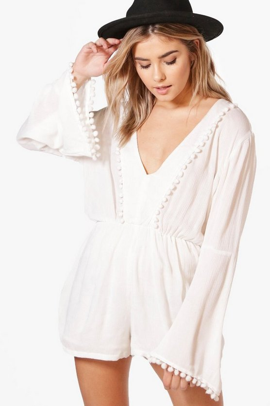 Kate Pom Pom Detail Flare Sleeve Playsuit