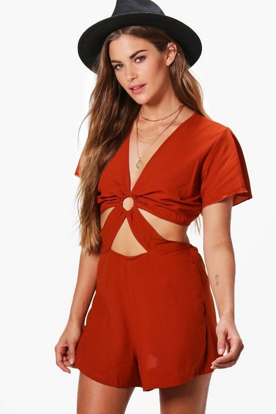 Mary Cut Front Capped Sleeve Playsuit