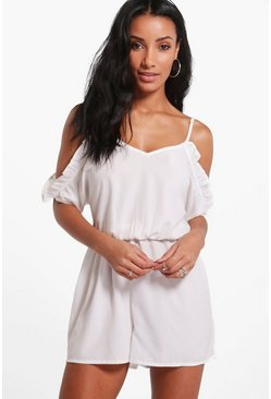 Womens Ivory Basic Open Shoulder Playsuit