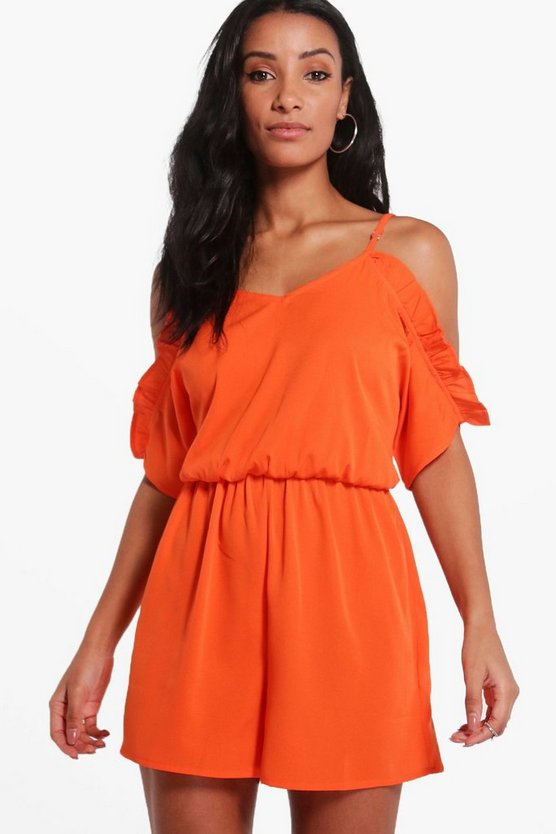 Womens Orange Basic Open Shoulder Playsuit