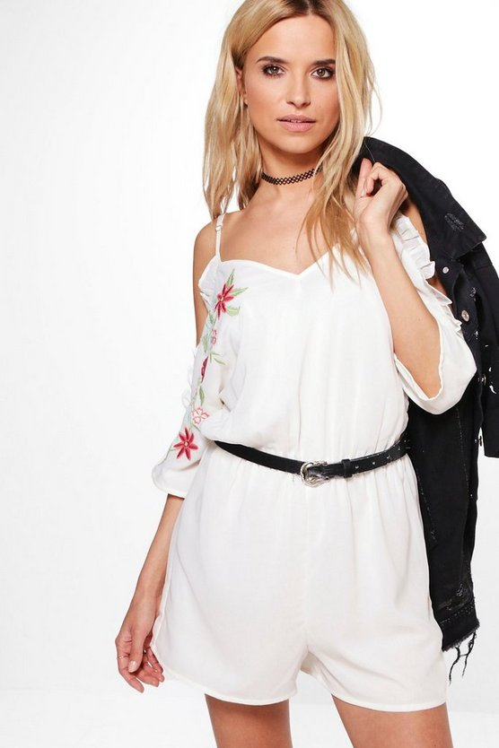 Ruby Open Shoulder Floral Detail Playsuit