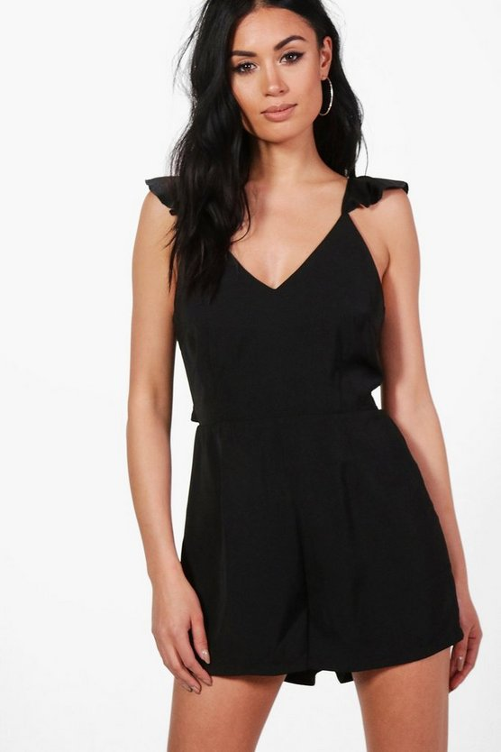 Ruffle Shoulder Backless Woven Playsuit