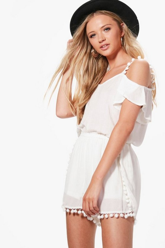 Helen Pom Pom Trim Playsuit