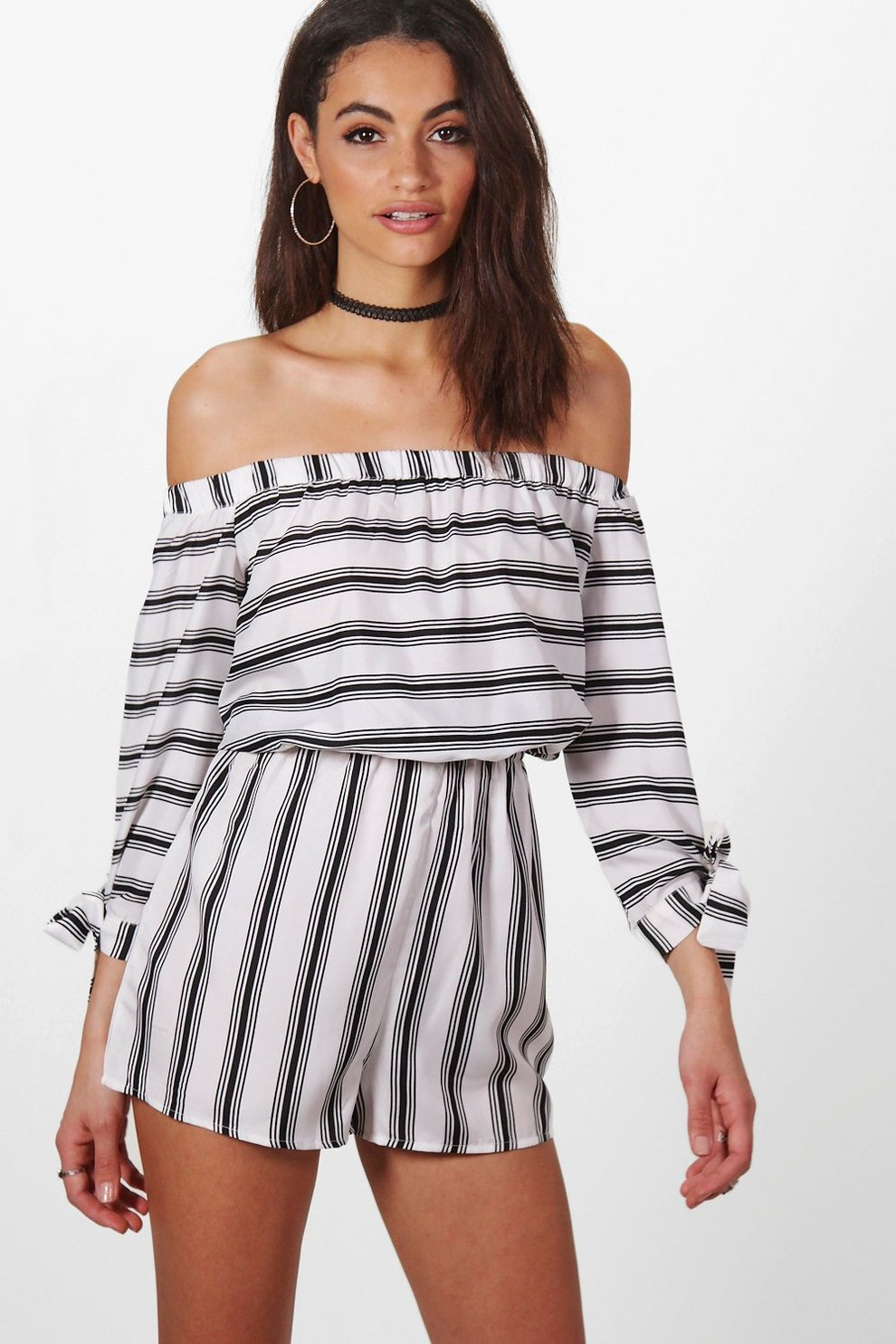 d7623b6c0eb1 Womens Multi Helena Striped Tie Sleeve Off The Shoulder Playsuit. Hover to  zoom