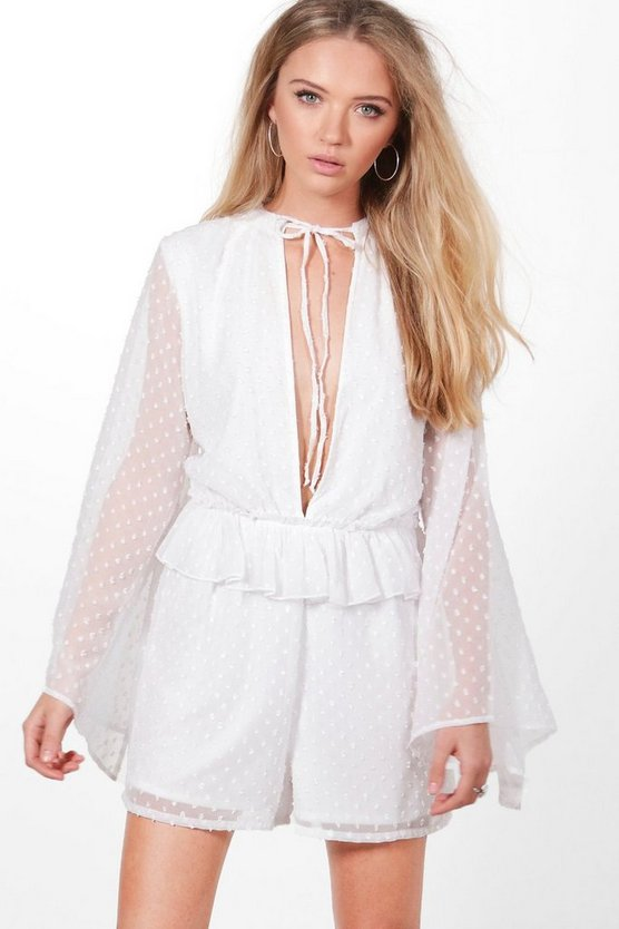 Boutique Lisa Spot Chiffon Ruffle Playsuit