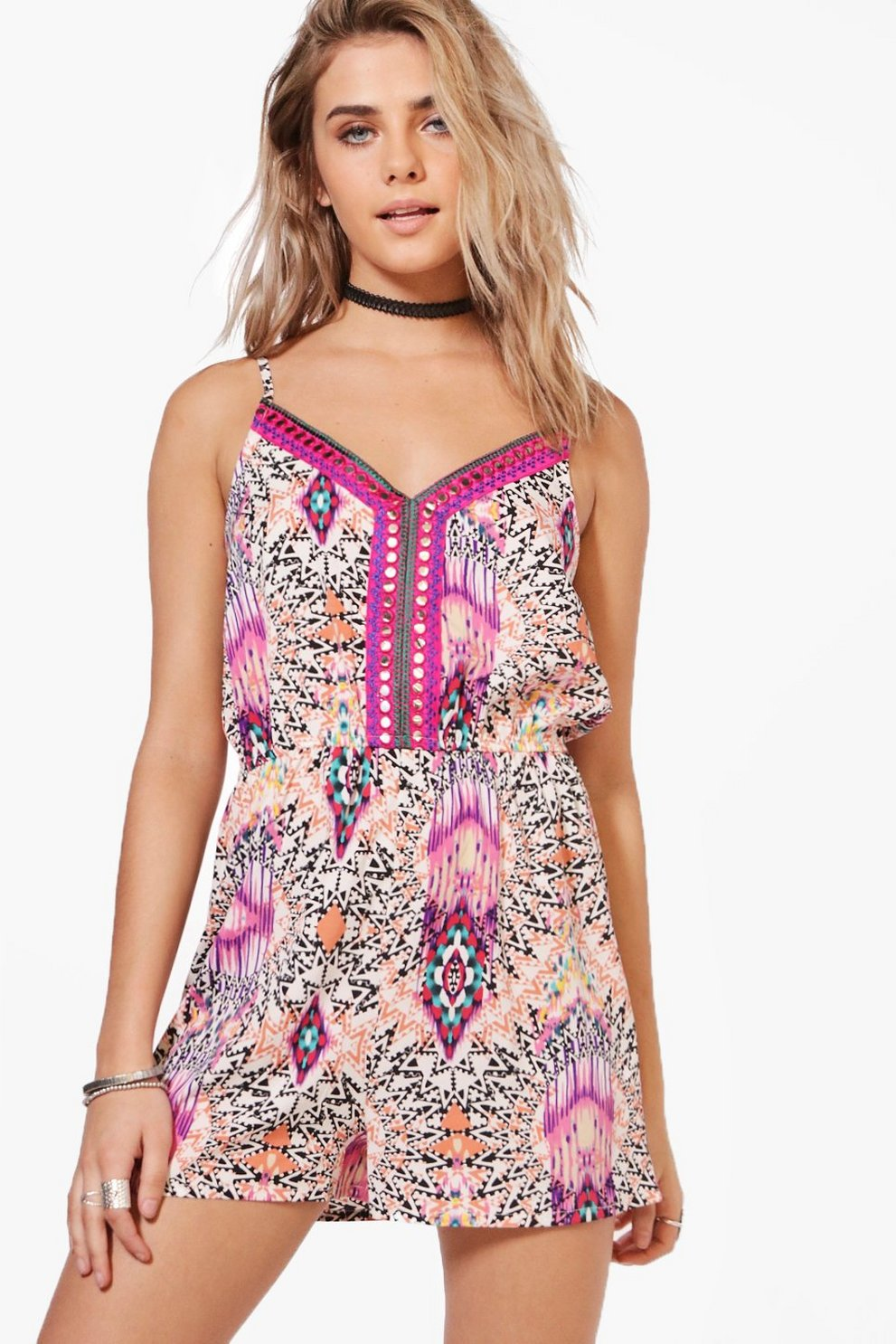 8ae7020c051e Jessica Mirror & Embroidered Playsuit | Boohoo