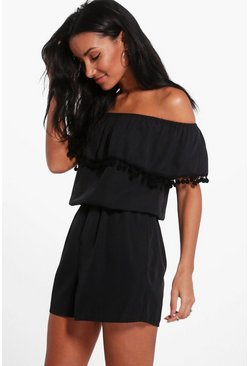 Womens Black Pom Pom Off Shoulder Romper