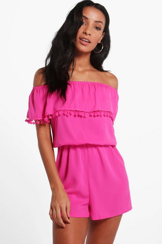 Cerise Pom Pom Off Shoulder Playsuit