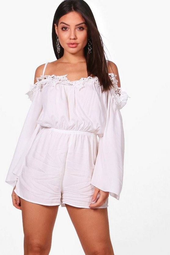 Julie Crochet Open Shoulder Playsuit