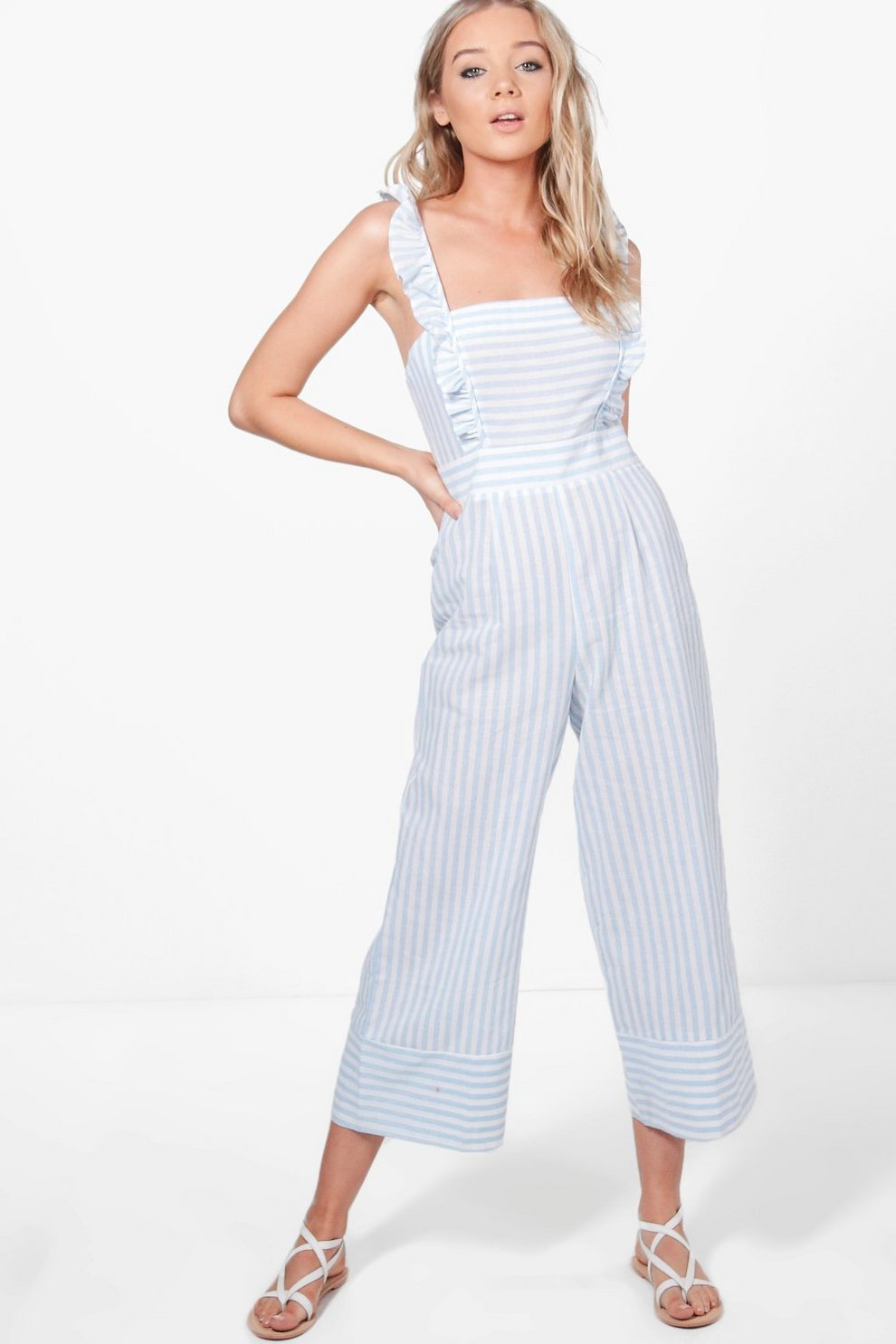 1c8e7920f Ruffle Shoulder Striped Culotte Jumpsuit