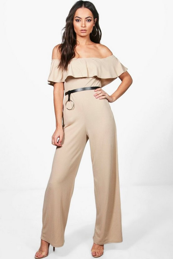 Womens Bardot Ruffle Wide Leg Jumpsuit