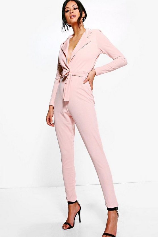 Womens Nude Deep Plunge O Ring Belted Jumpsuit