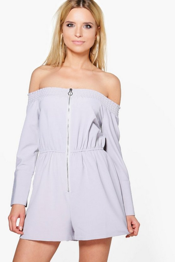Mona Off The Shoulder Flare Sleeve Playsuit