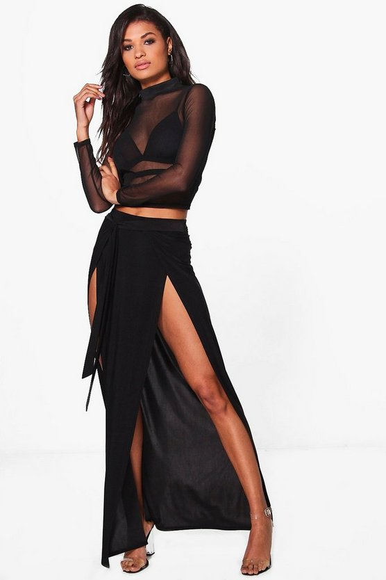 Amala Tie Waist Double Thigh Split Maxi Skirt