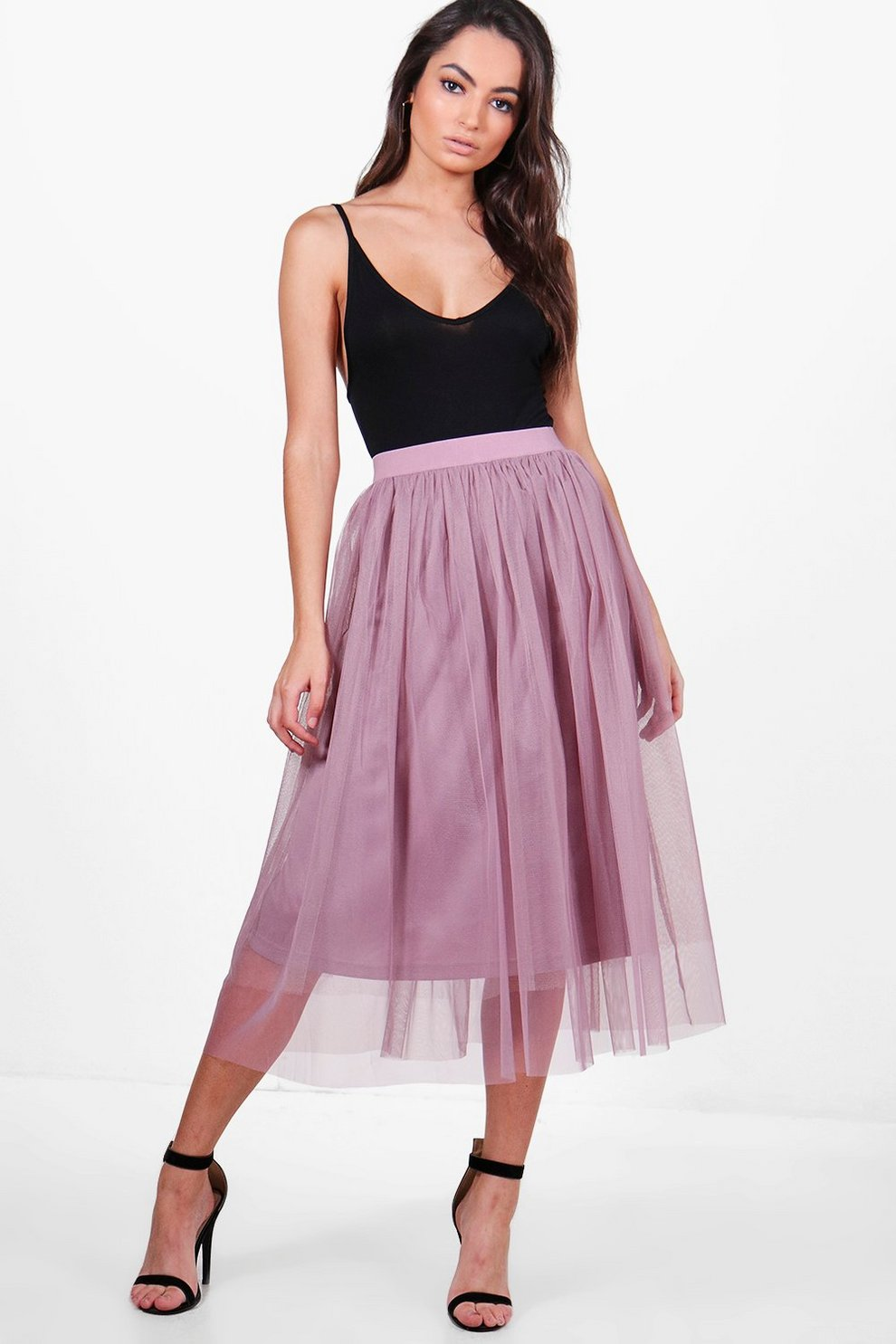 87ef3250c1aaf Boutique Montana Knee Length Full Tulle Midi Skirt | Boohoo