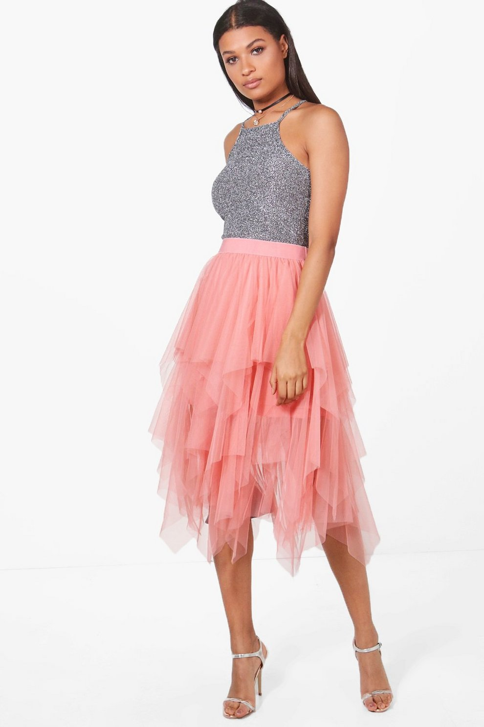 a0f28893886ed4 Boutique Nolita Layered Tulle Midi Skirt | Boohoo