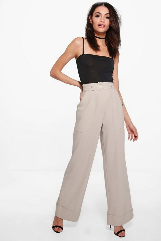 India Deep Cuff Woven Tailored Wide Leg Trousers
