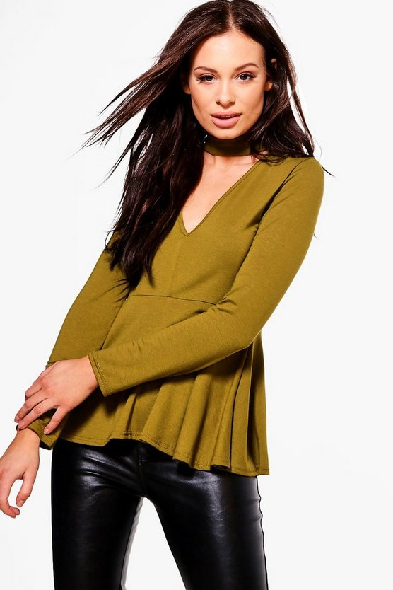 Ruby Long Sleeve Choker Peplum