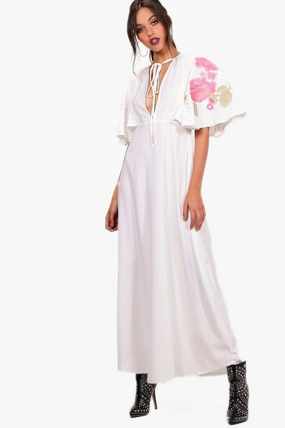 Embroidered Cape Maxi Dress