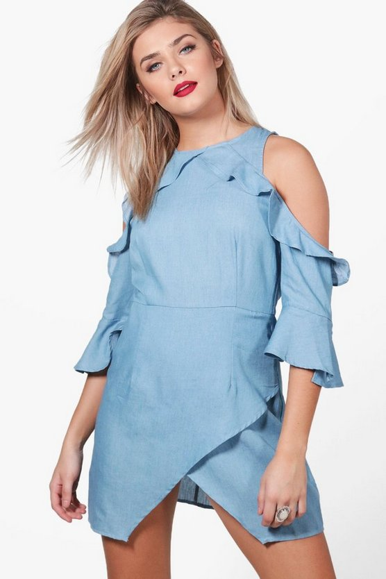 Rosie Off The Shoulder Frill Chambray Shift Dress