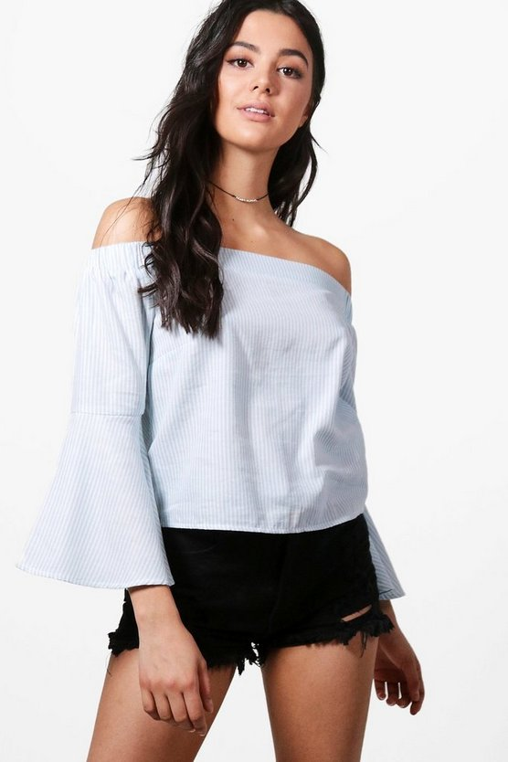 Molly Flute Sleeve Chambray Top