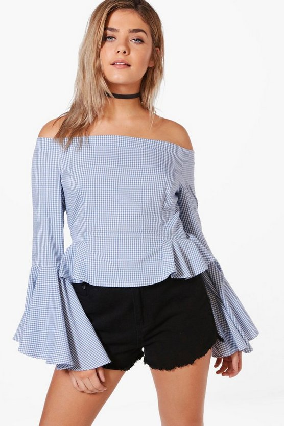 Flute Sleeve Off The Shoulder Chambray Top