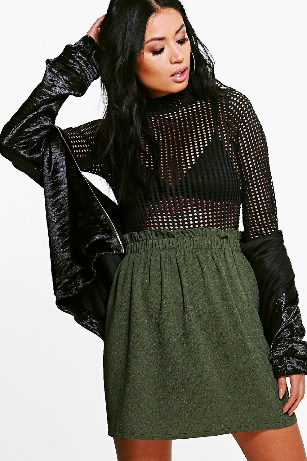 fe09fc9b9d5 Womens Khaki Luna Gathered Waist Woven Mini Skirt