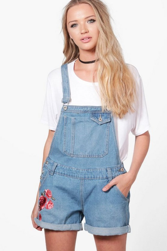 Womens Mid blue Amelie Floral Embroidery Denim Dungaree Shorts