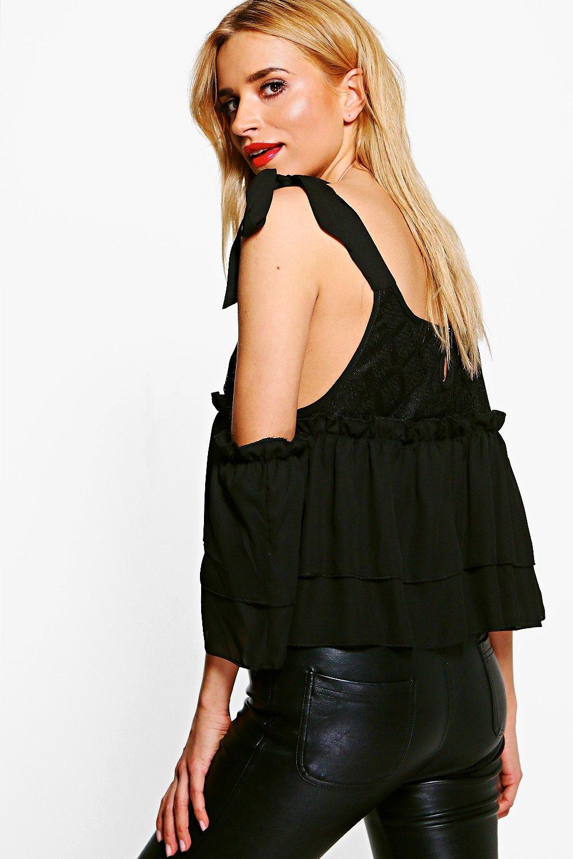 boohoo damen julia tie shoulder lace cold shoulder top ebay. Black Bedroom Furniture Sets. Home Design Ideas
