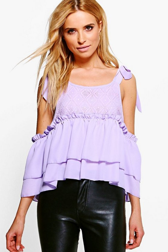 Tie Shoulder Lace Cold Shoulder Top