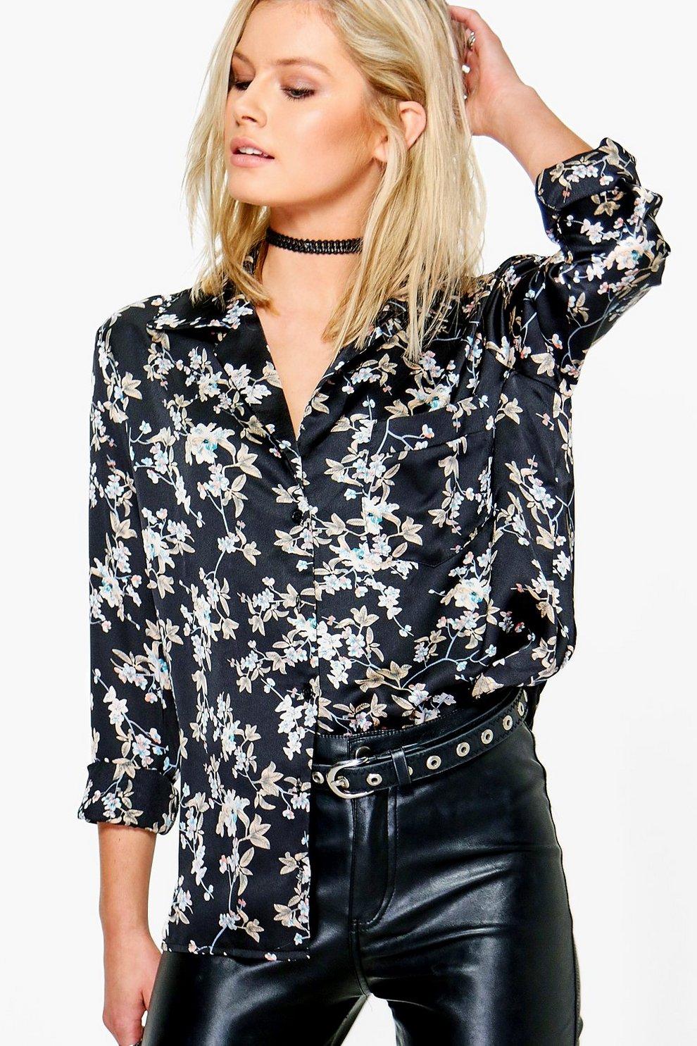 222c1510f01c4c Womens Black Gemma Floral Print Satin Shirt