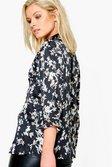 b40bfc171774d3 ... Womens Black Gemma Floral Print Satin Shirt alternative image ...