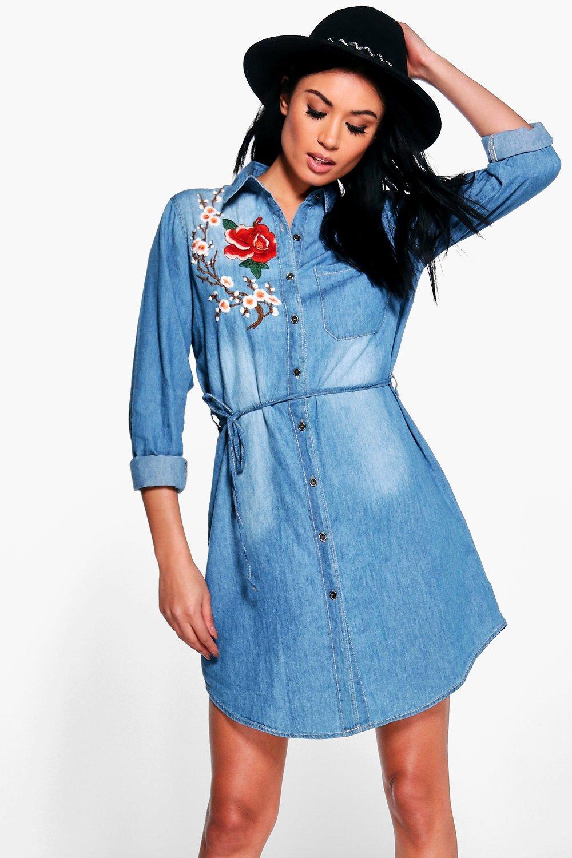 a62f75c7045 Ellie Embroidered Denim Shirt Dress