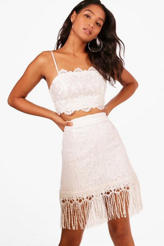 Lottie Lace Tassle Trim Mini Skirt