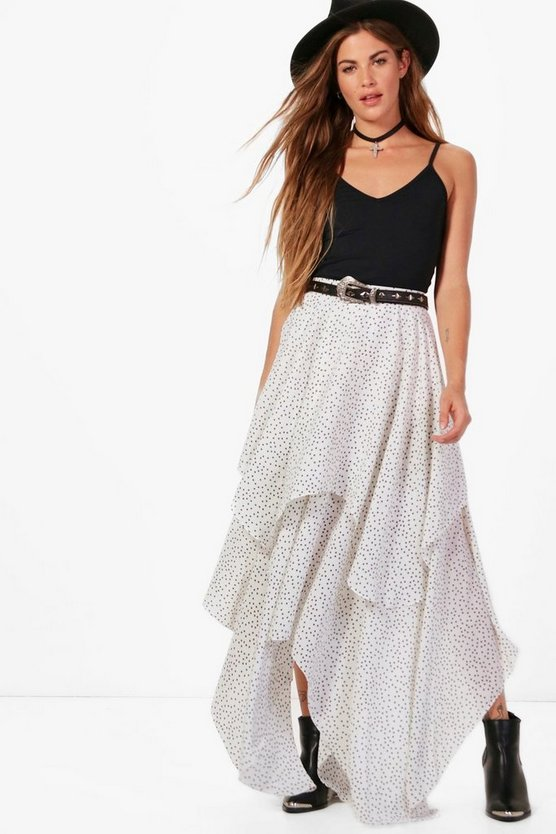 Star Print Layered Maxi Skirt