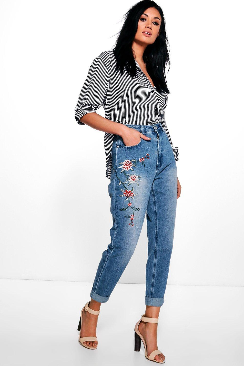 22144401373 High Waist Embroidered Mom Jeans. Hover to zoom