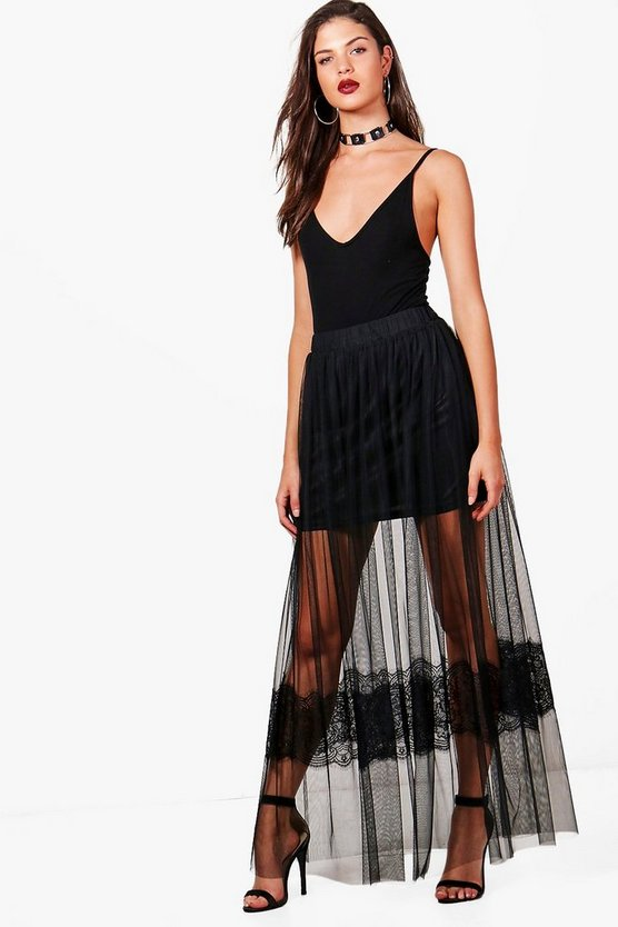 Eyelash Lace Tulle Maxi Skirt