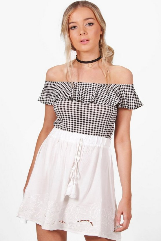 Willow Embroidered Tassle Trim Skater Skirt