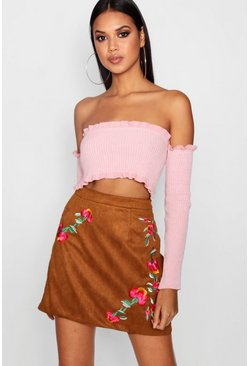 Womens Tan Harper Embroidered A Line Suedette Skirt