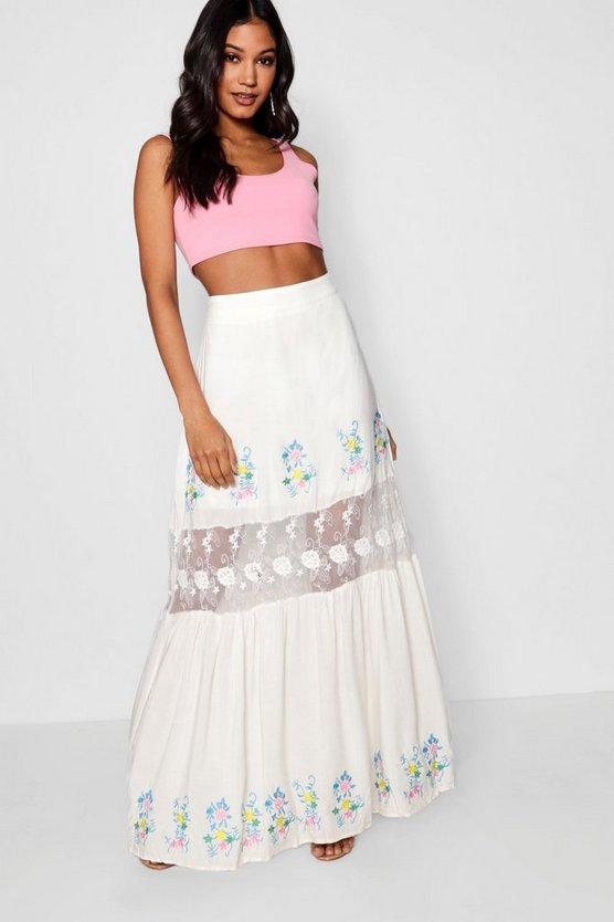 Embroidered Lace Insert Maxi Skirt