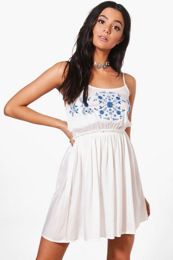 Marlin Porcelain Embroidered Smock Dress