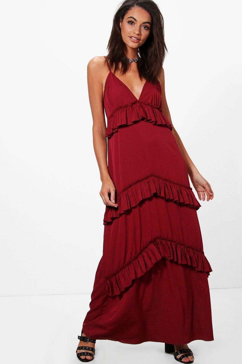 ed455fc20e Olivia Ruffle Tier Western Strap Maxi Dress