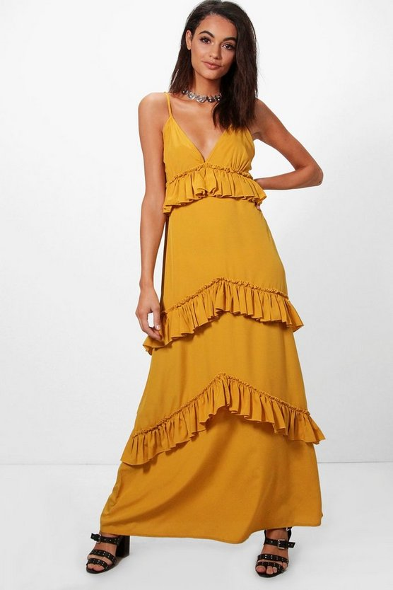 Olivia Ruffle Tier Western Strap Maxi Dress