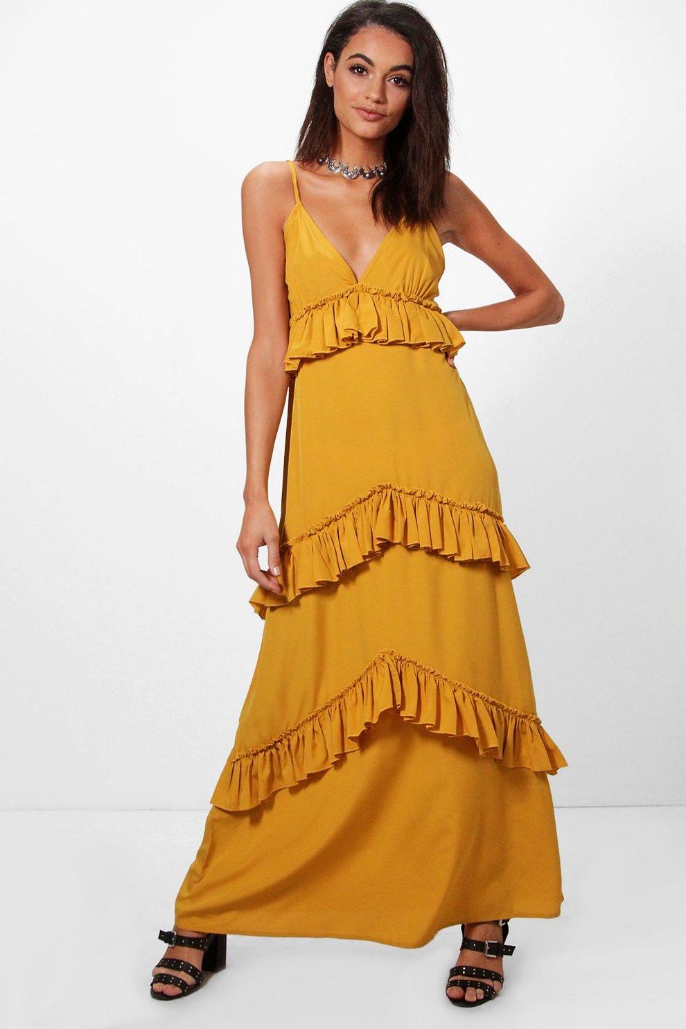 170531949e8 Womens Ochre Olivia Ruffle Tier Western Strap Maxi Dress. Hover to zoom