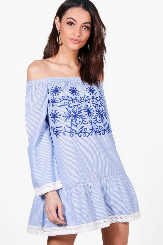 Lea Off Shoulder Stripe Embroidered Shift Dress