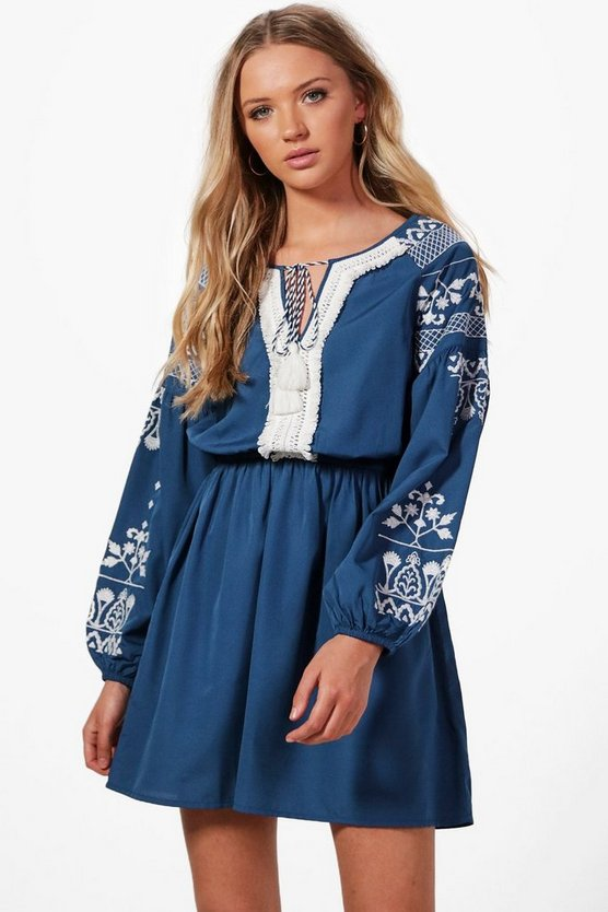 Womens Blue Boutique Lara Embroidered Tassel Dress