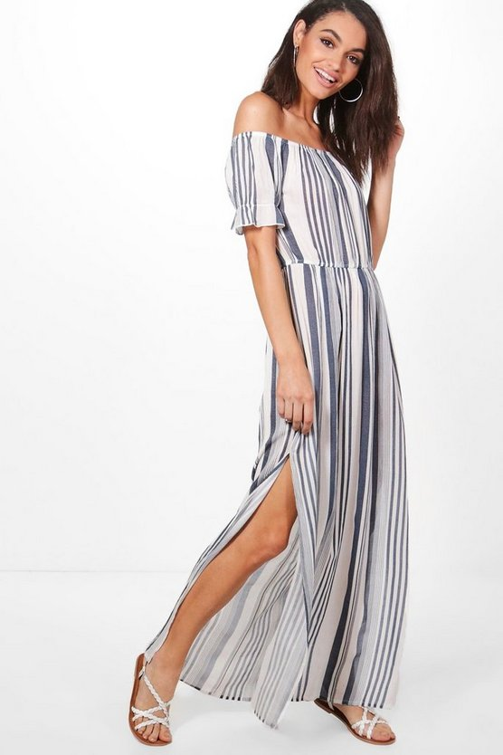Gracia Stripe Frill Sleeve Maxi Dress
