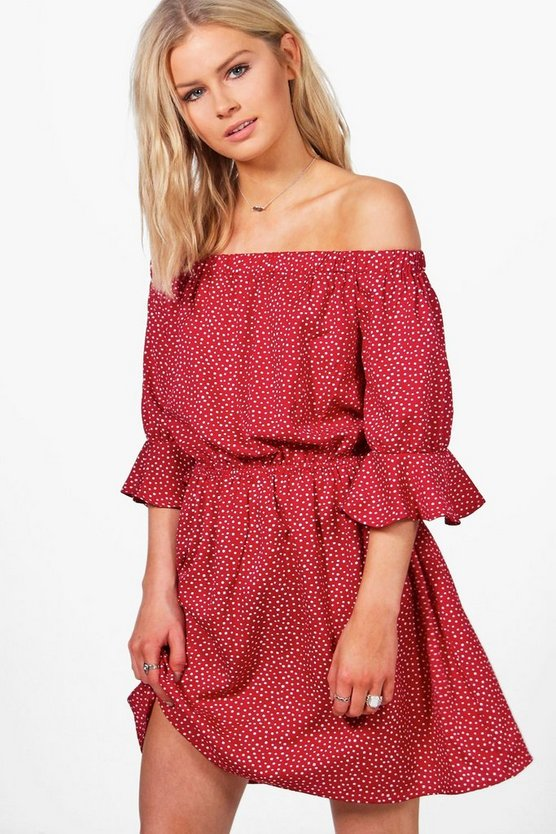Yasmin Spot Print Flute Sleeve Shift Dress